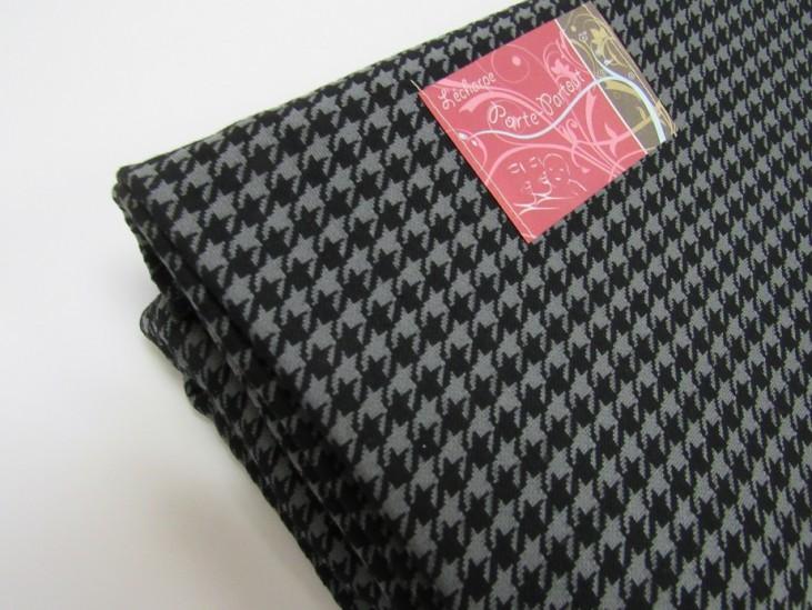 Écharpe extensible damier noir et gris
