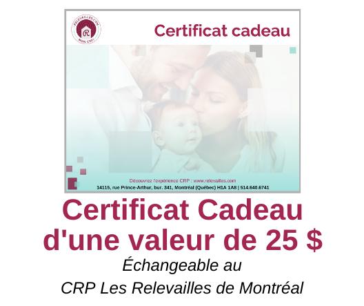 Certificat Cadeau d'une valeur de 25 $- VISUEL web 20191206